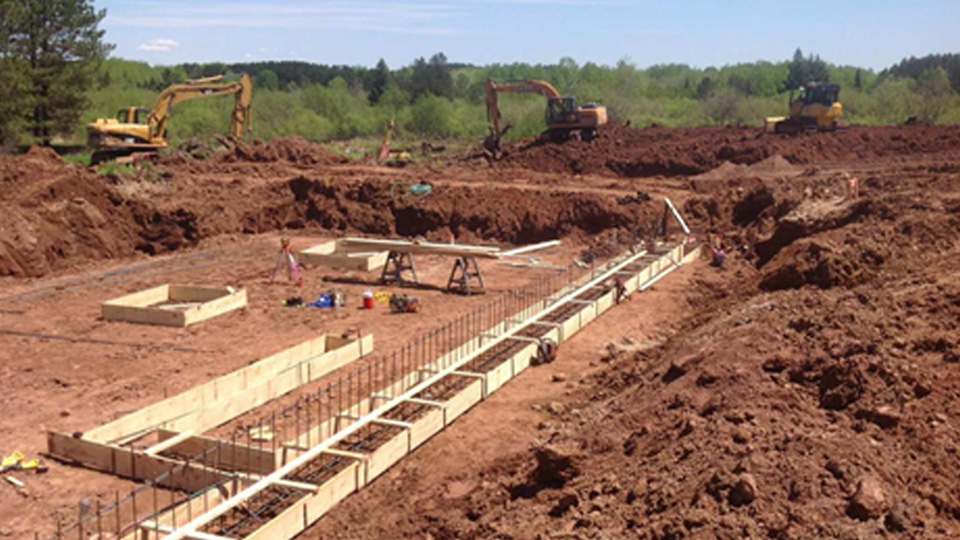 Photo of footing and rebar placement